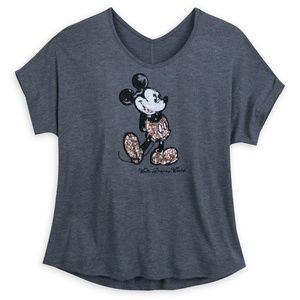 Disney Tops - Disney Parks Mickey Mouse Briar Rose Gold Sequined